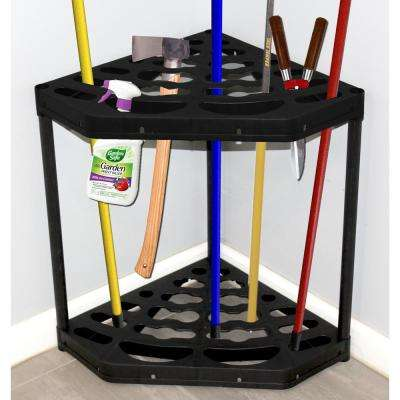 25 in. Tool Bucket Black Corner Long Handle Broom and Tool Organizer Holder for Cleaning Utensils
