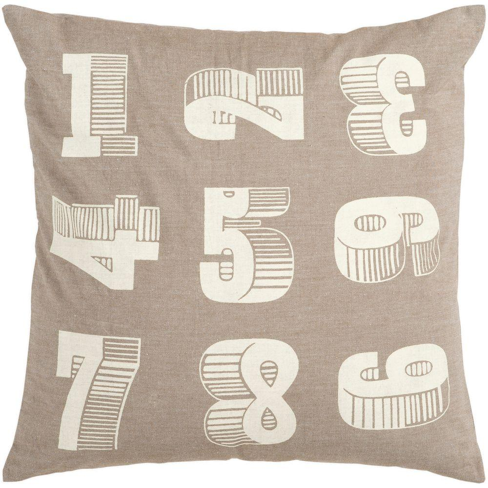 Artistic Weavers Numbers 18 in. x 18 in. Decorative Down Pillow-DISCONTINUED