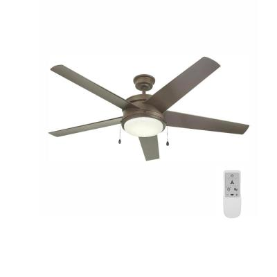 Portwood 60 in. LED Espresso Bronze Ceiling Fan and WiFi Remote Control works with Google and Alexa
