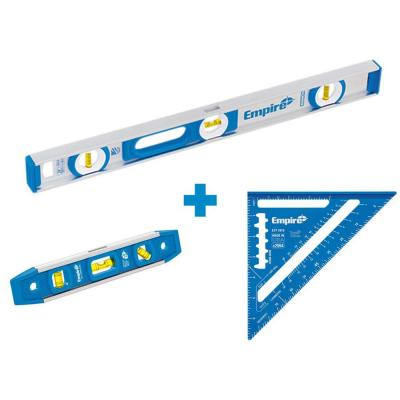 24 in. Aluminum Magnetic I-Beam Level with Aluminum Rafter Square and Torpedo Level
