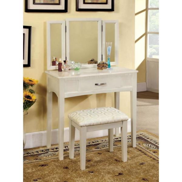 William S Home Furnishing Potterville White Vanity Table With Padded Stool And 3 Sided Mirror