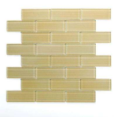 Mardi Gras St. Charles 12 in. x 12 in. x 6.35 mm Yellow Glass Mesh-Mounted Mosaic Wall Tile (10 sq. ft. / case)