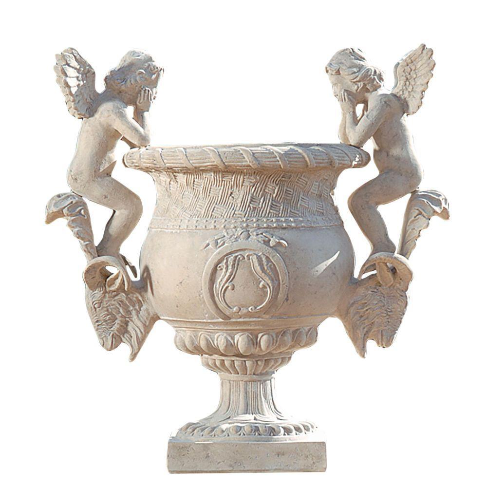 Versailles Cherub 38 in. H Ancient Ivory Fiberglass Garden Urn