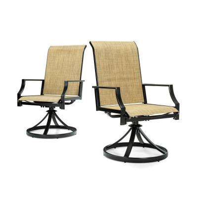 Addyson Swivel Sling Outdoor Dining Chair with Burlap Sling (2-Pack)