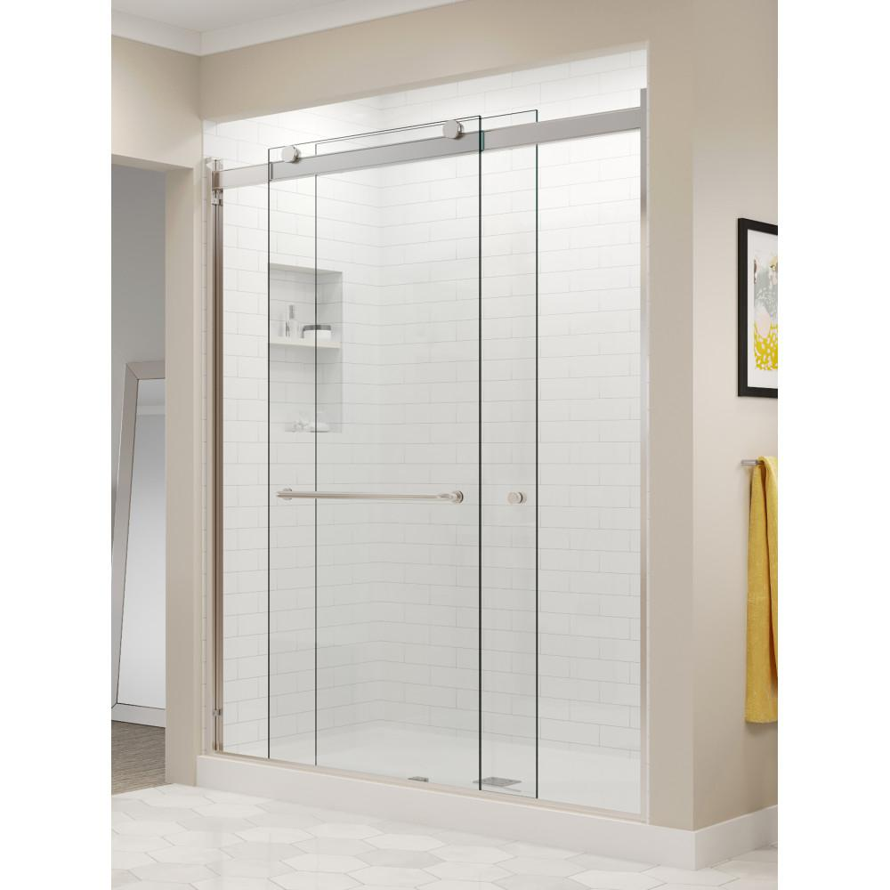 Basco Rotolo 60 in. x 70 in. Semi-Frameless Sliding Shower Door in Brushed Nickel with Handle