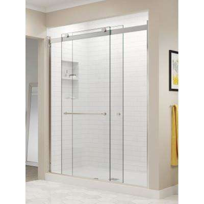 Rotolo 60 in. x 70 in. Semi-Frameless Sliding Shower Door in Brushed Nickel with Handle