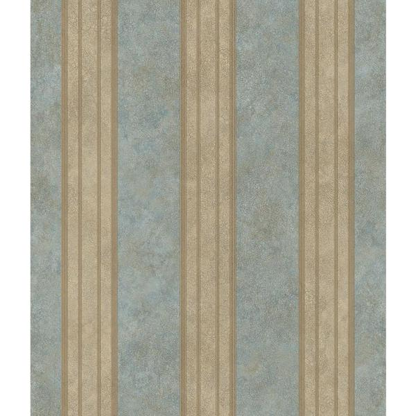 Sweetwater Aqua Tuscan Stripe Paper Strippable Wallpaper (Covers 56.4 sq. ft.)