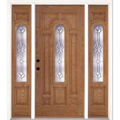 67.5 in.x81.625 in. Medina Zinc Center Arch Lite Stained Light Oak Right-Hand Fiberglass Prehung Front Door w/ Sidelites