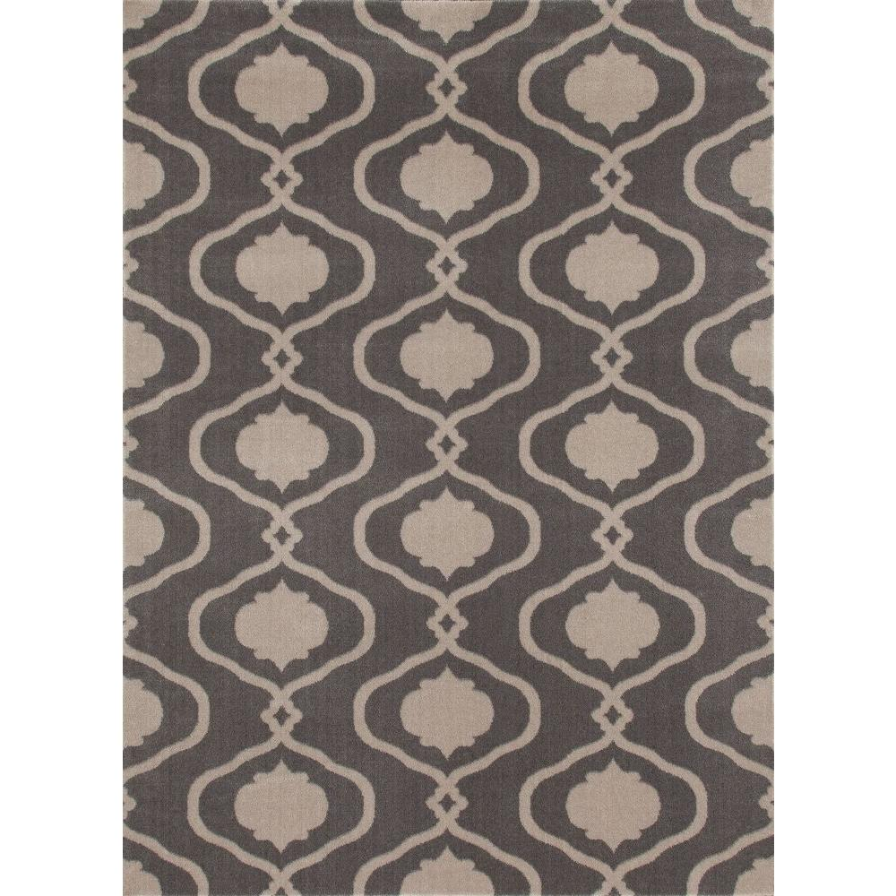 World Rug Gallery Modern Moroccan Trellis Gray/Yellow 7 Ft