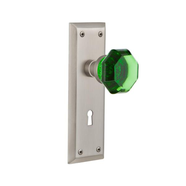Nostalgic Warehouse New York Plate With Keyhole 2 3 4 In Backset Satin Nickel Passage Hall Closet Waldorf Emerald Door Knob 721874 The Home Depot