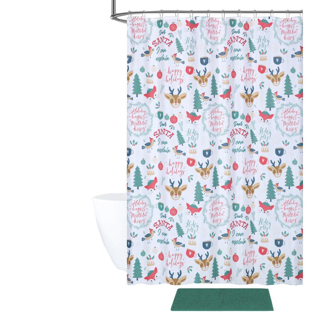 Internet 307420179 Holly Jolly Christmas Shower Curtain And Bath Rug Set