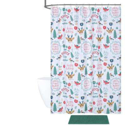 Holly Jolly Christmas Shower Curtain and Bath Rug Set (14-Piece)