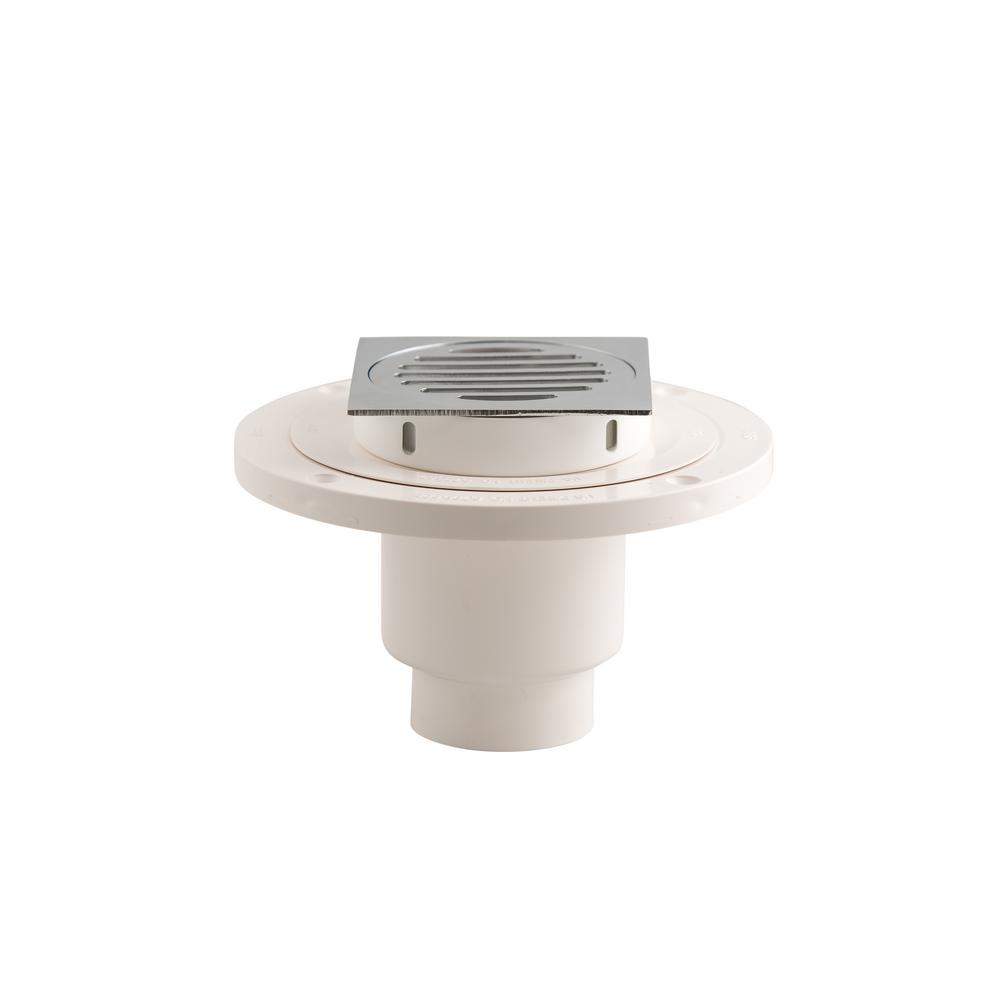 Wondercap 2 in. ABS Tile Shower Drain Outlet with Square Chrome Strainer