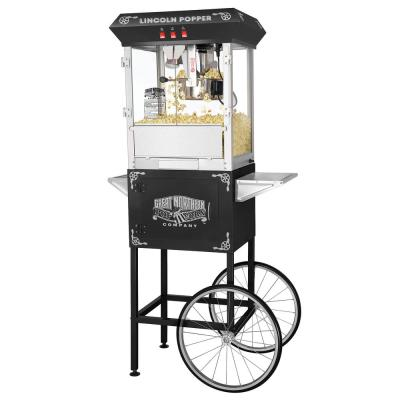 Lincoln 8 oz. Antique Black Popcorn Machine with Cart