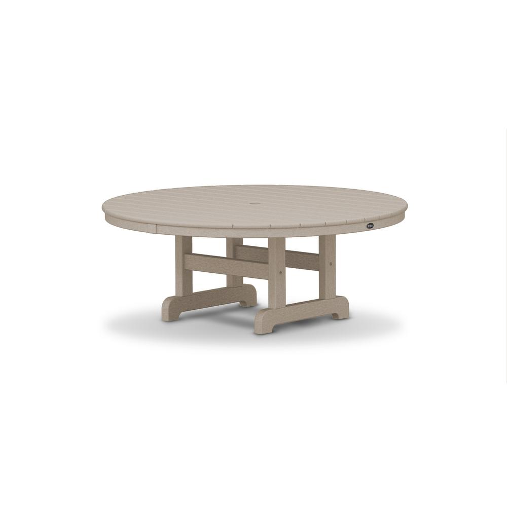 Trex Outdoor Furniture Cape Cod Sand Castle 48 in. Round Patio Conversation Table