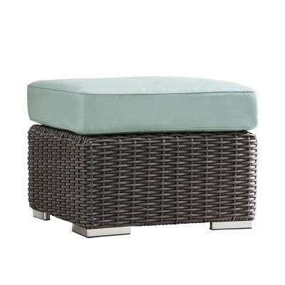 Camari Charcoal Wicker Outdoor Ottoman with Blue Cushion