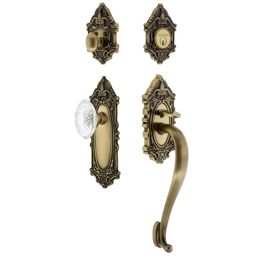 Victorian Plate 2-3/4 in. Backset Antique Brass S Grip Handleset Crystal Victorian Door Knob