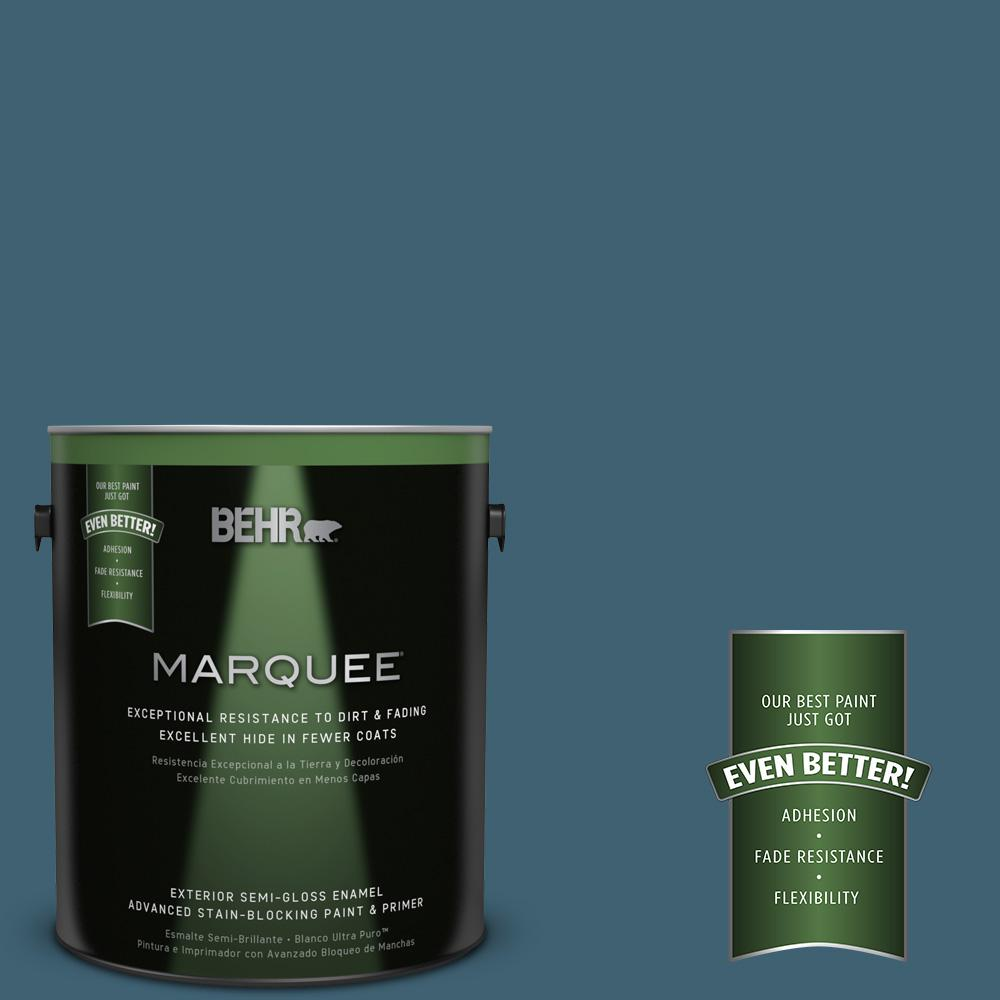 BEHR MARQUEE 1-gal. #PPU13-18 Bermudan Blue Semi-Gloss Enamel Exterior Paint