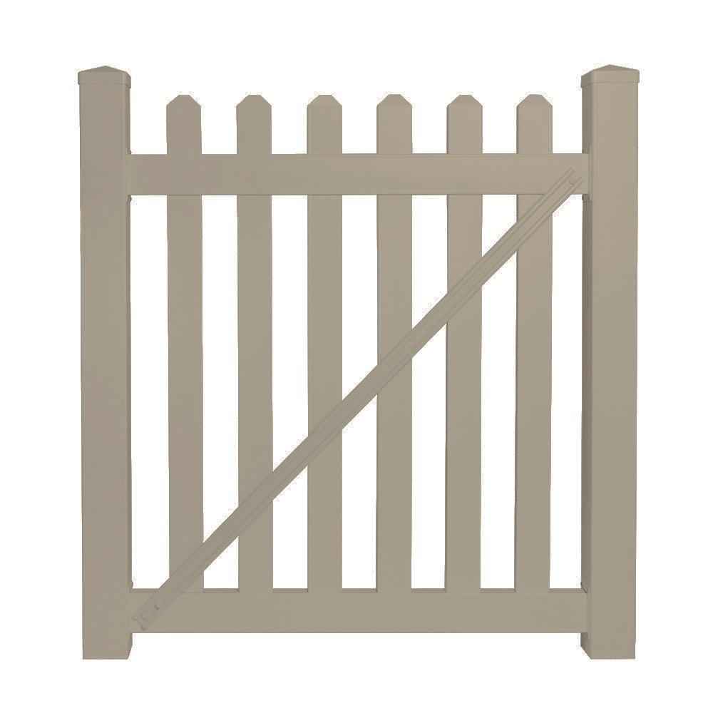 Chelsea 4 ft. W x 4 ft. H Khaki Vinyl Picket Fence Gate