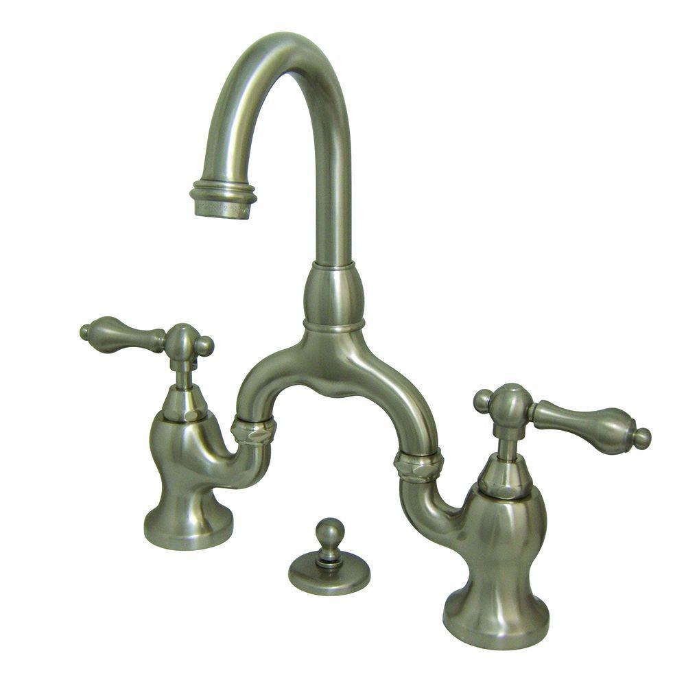 8 in. Widespread 2-Handle High-Arc Bridge Bathroom Faucet in Satin Nickel
