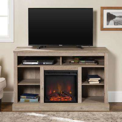 Highboy 52 in. Grey Wash TV Console with Open Storage