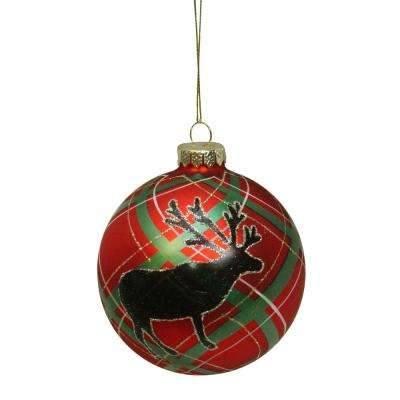 4 in. (100 mm) Plaid Design with Reindeer Silhouette Glass Christmas Ball Ornament