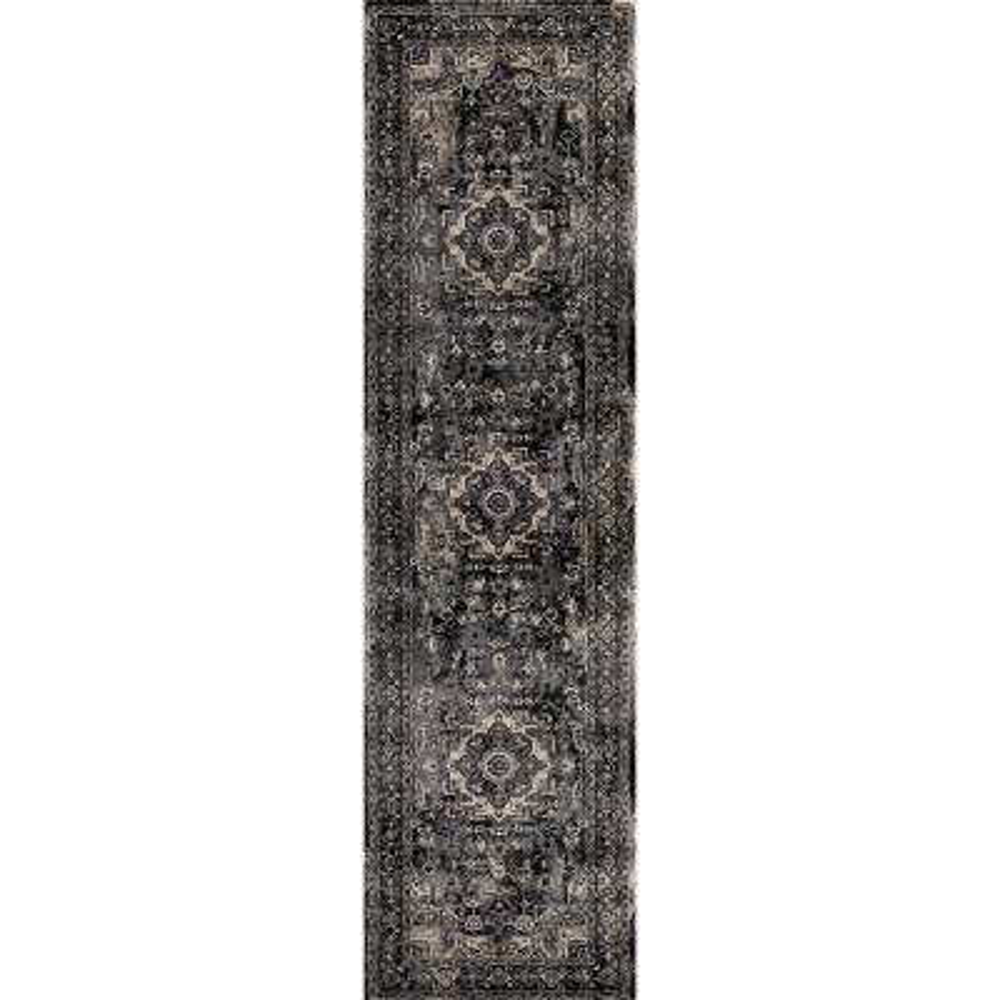 Kashan Heriz Anthracite 2 ft. x 7 ft. Runner Rug