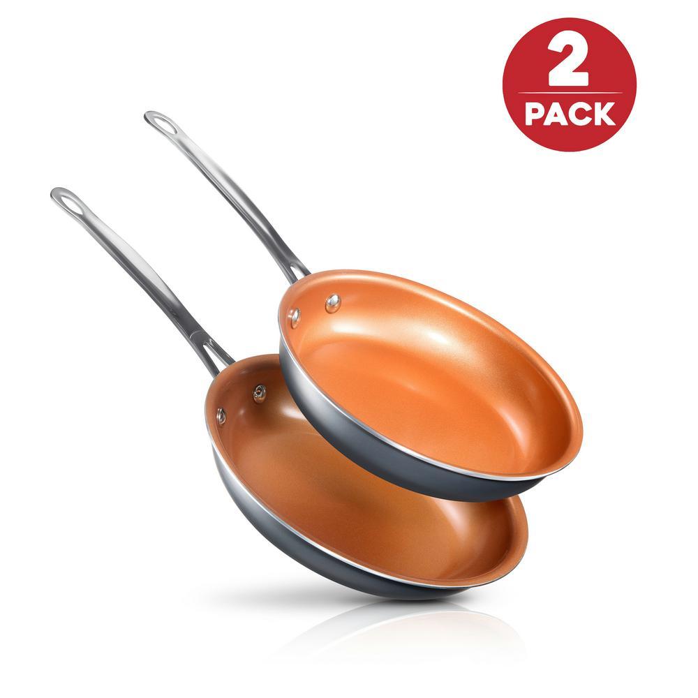 8.5 in. and 9.5 in. Aluminum Ti-Ceramic Nonstick Round Fry Pan Set (2-Piece)