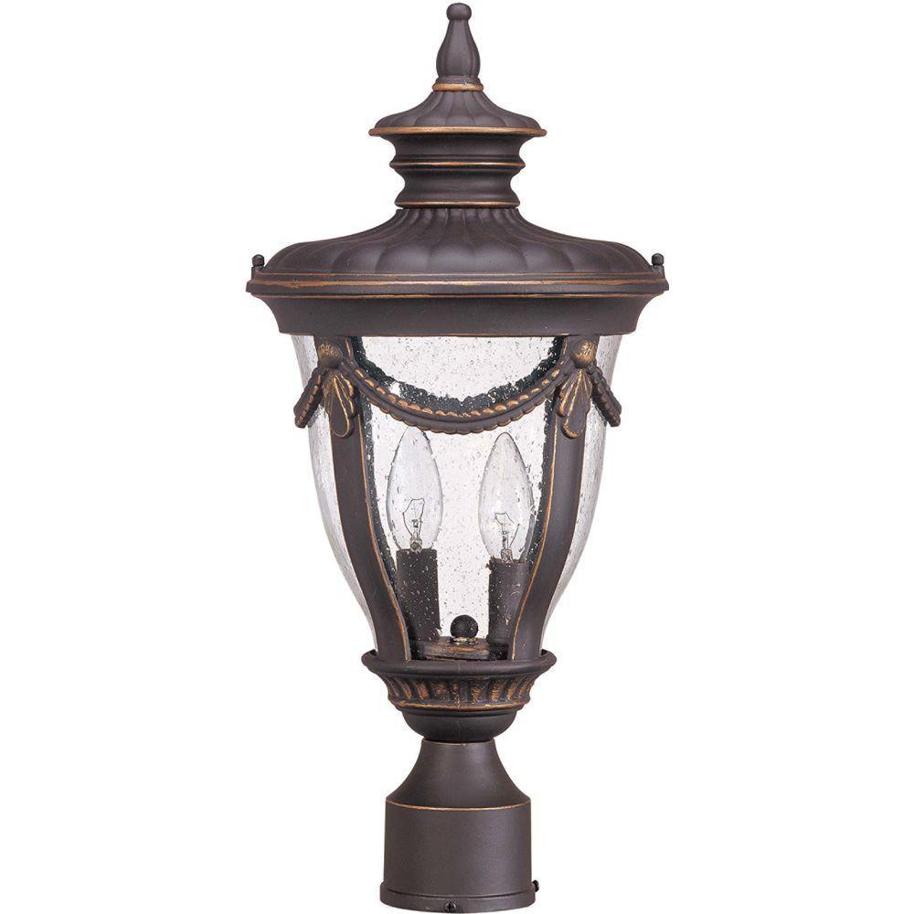 2-Light Outdoor Belgium Bronze Mid-Size Post Lantern with Seeded Glass