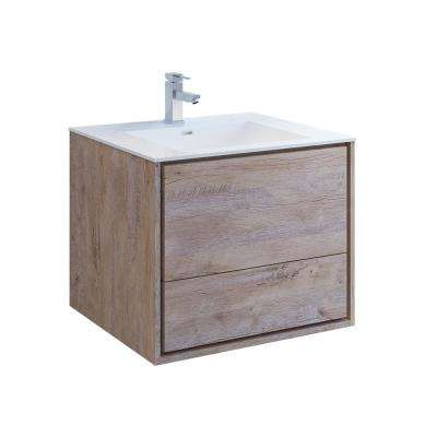 Catania 30 in. Modern Wall Hung Bath Vanity in Rustic Natural Wood with Vanity Top in White with White Basin