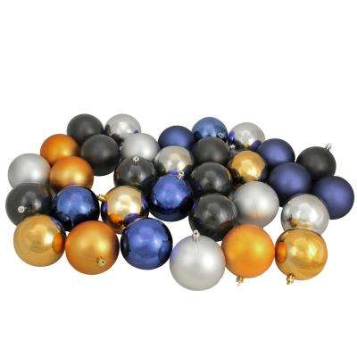 3.25 in. Sapphire Blue/Black/Antique Gold/Pewter Shatterproof Christmas Ball Ornaments (32-Count)