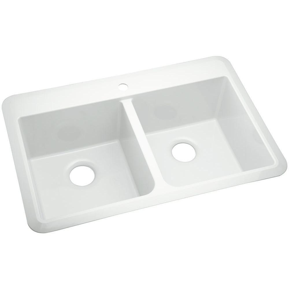 STERLING Slope Drop-in Vikrell 33 In. 1-Hole Double Bowl