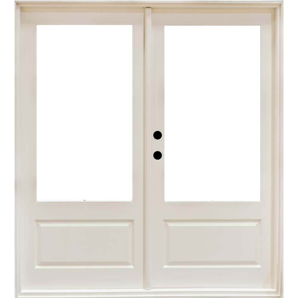 Mp Doors 72 In X 80 In Fiberglass Smooth White Right Hand Outswing Hinged 3 4 Lite Patio Door