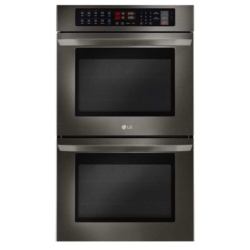 LG Electronics 30 in. Double Electric Wall Oven Self-Cleaning with Convection and EasyClean in Black Stainless Steel