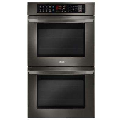 30 in. Double Electric Wall Oven Self-Cleaning with Convection and EasyClean in Black Stainless Steel