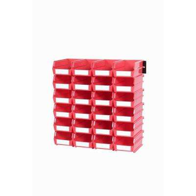 LocBin .301-Gal. Small Bin System in Red (24-Bins) and 2- Wall Mount Rails
