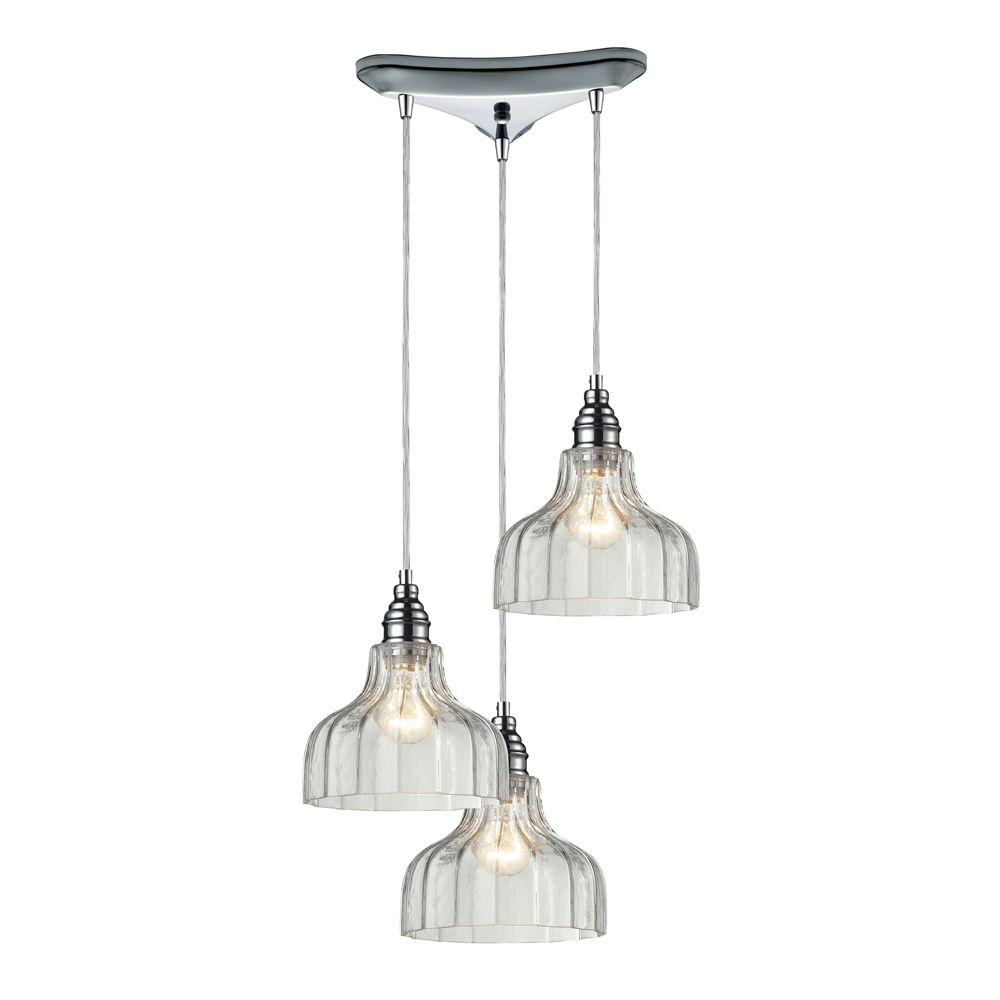 Danica 3-Light Polished Chrome Ceiling Mount Pendant