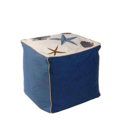Multi Shells Ivory and Blue Accent Pouf
