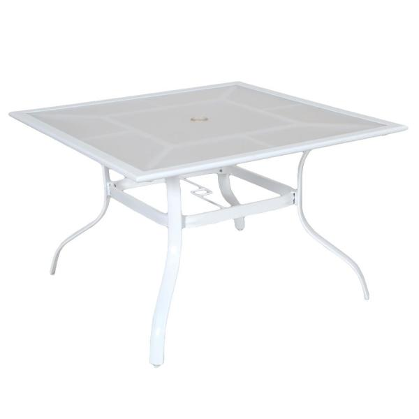 42 in. Commercial Aluminum Square Outdoor Patio Acrylic Top Dining Table in White
