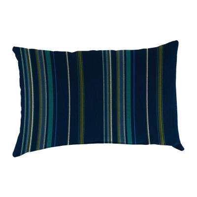 Sunbrella 19 in. x 12 in. Stanton Lagoon Lumbar Outdoor Throw Pillow