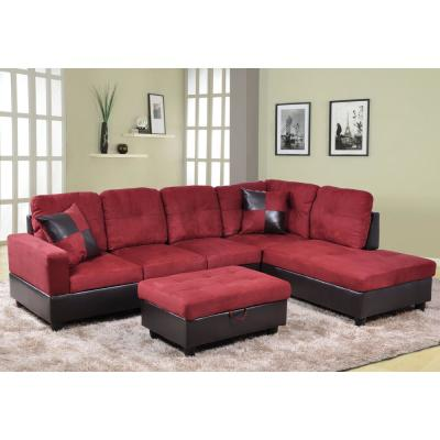 Red Right Chaise Sectional With Storage Ottoman