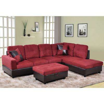 Red Sectionals Living Room Furniture The Home Depot