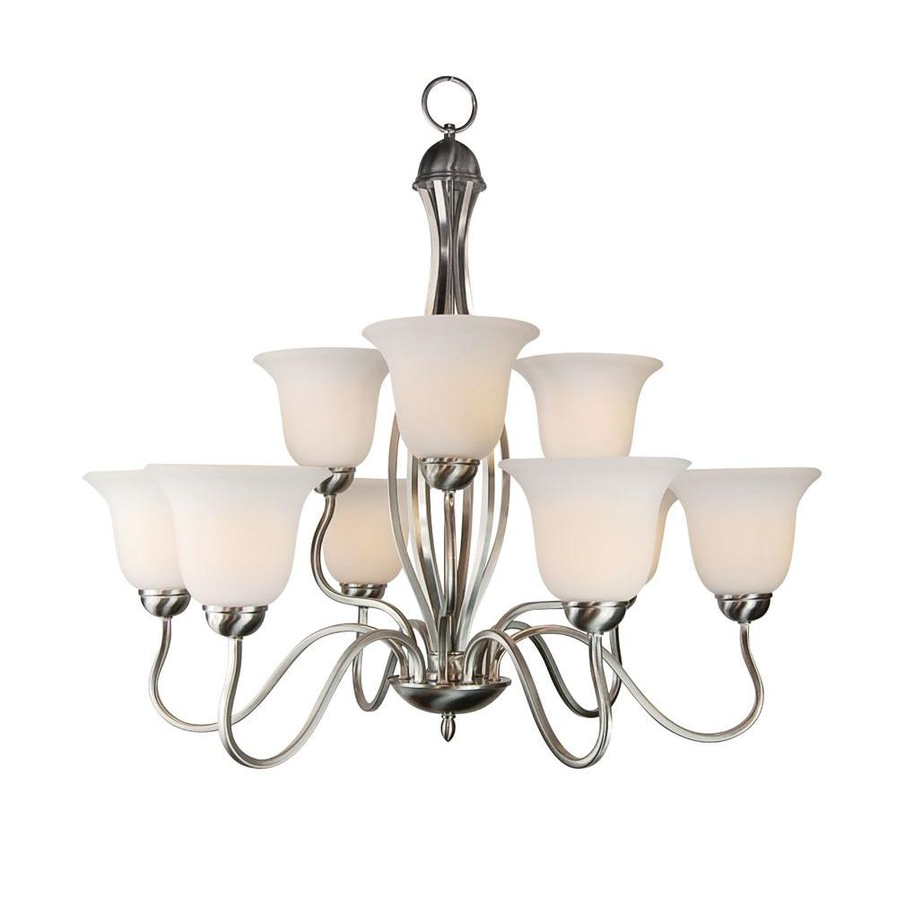 Bel Air Lighting Stewart 9-Light Ceiling Frosted Chrome CFL Chandelier
