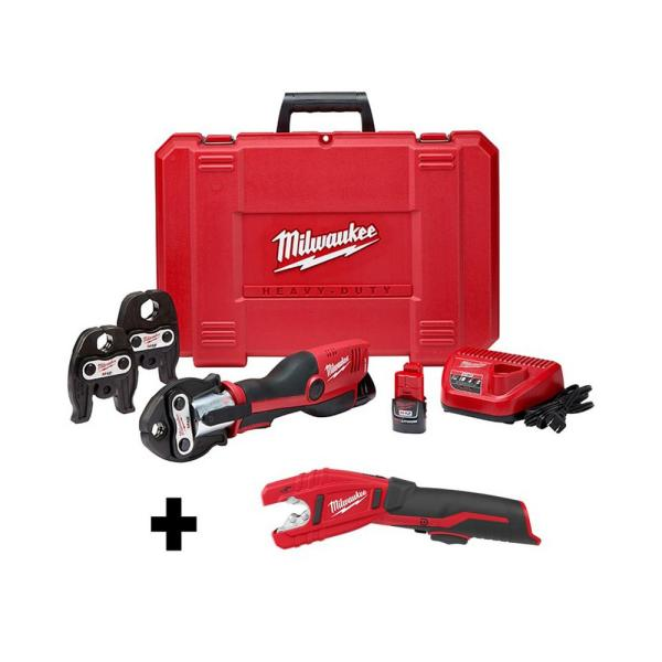 M12 12-Volt Lithium-Ion Force Logic Cordless Press Tool Kit with M12 Copper Tubing Cutter (3 Jaws Included)