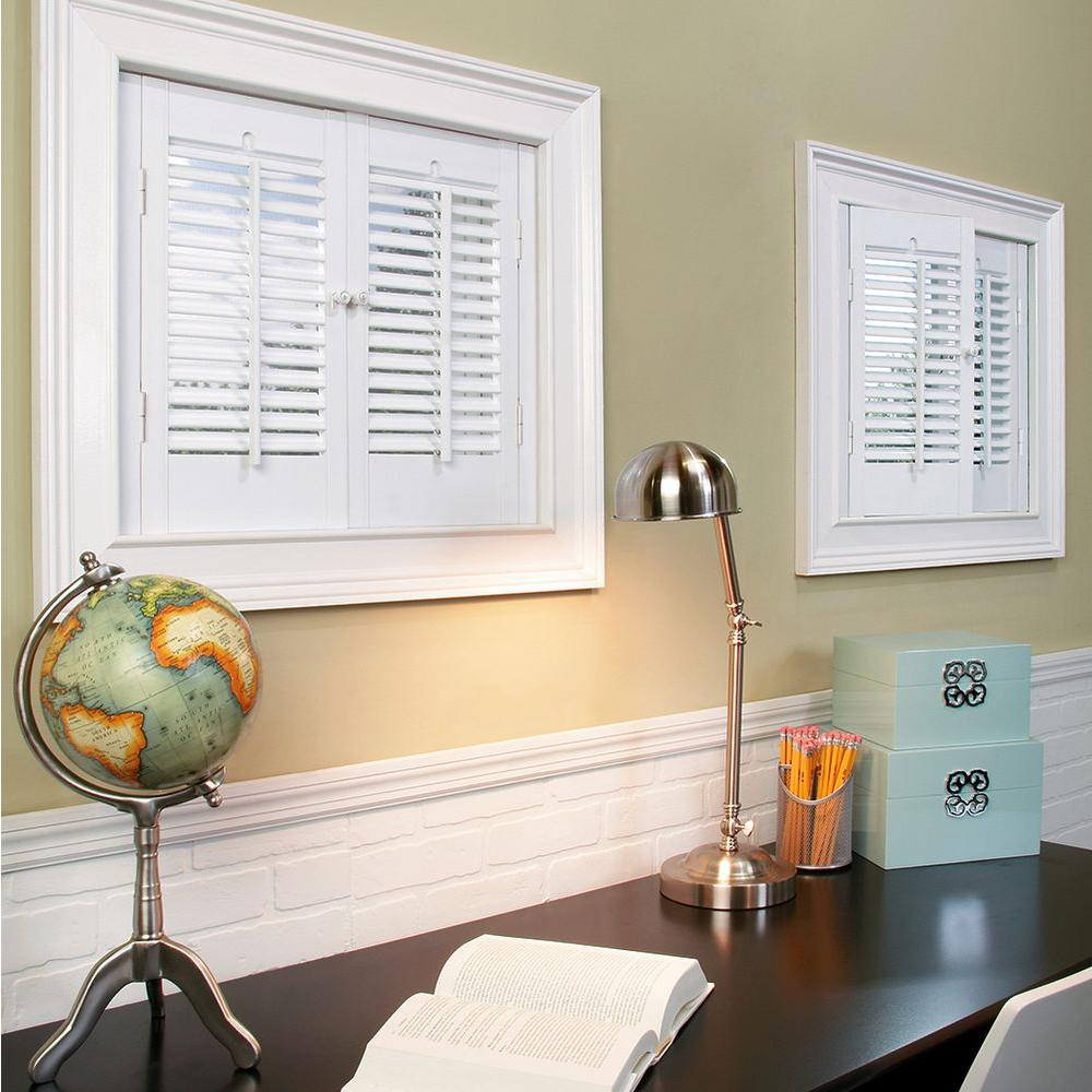 homeBASICS Traditional Faux Wood White Interior Shutter (Price Varies by Size)