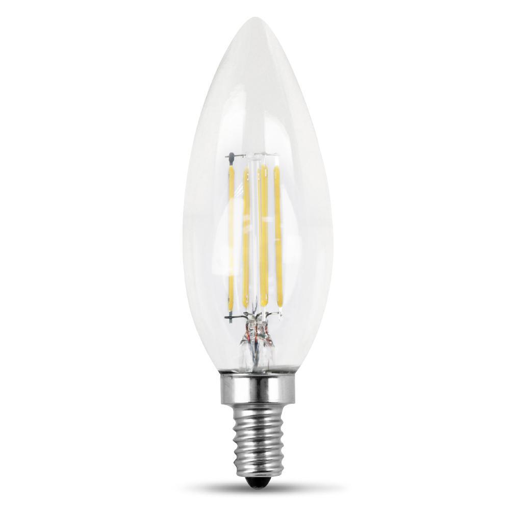 feit electric 60 watt equivalent daylight 5000k b10 dimmable filament led candelabra base. Black Bedroom Furniture Sets. Home Design Ideas