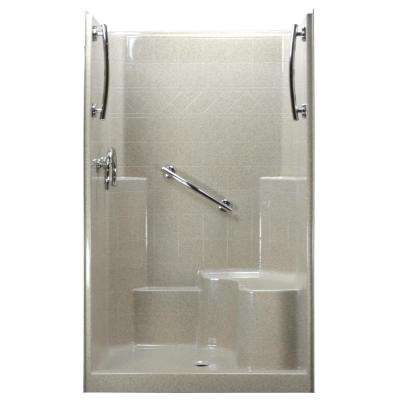 48 in. x 37 in. x 80 in. 1-Piece Low Threshold Shower Stall in Beach, Grab Bars, Right Hand Side Seat, Center Drain