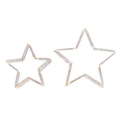 S/2 16 in. H Lighted Holiday Gold Glitter Stars