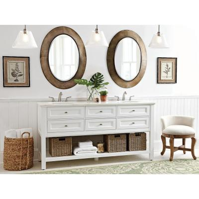 Austell 67 in. W Double Bath Vanity in Espresso with Natural Marble Vanity Top in White