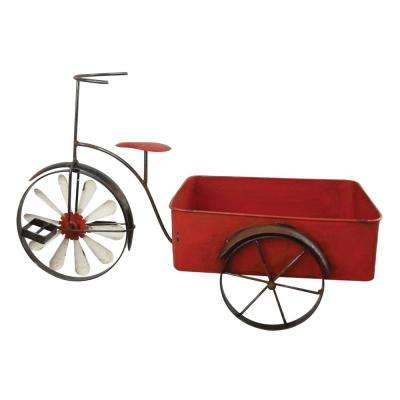 Metal Planter Tricycle Red